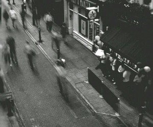 people, street, and black and white image