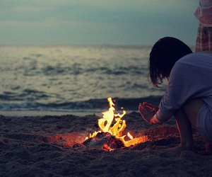 girl, fire, and beach image