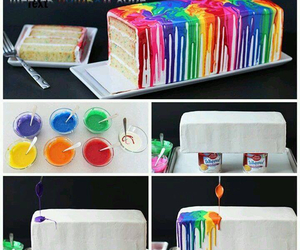 cake, rainbow, and diy image