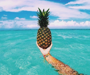 summer, pineapple, and beach image