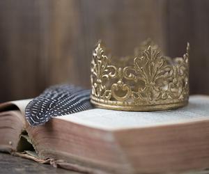 book, crown, and vintage image
