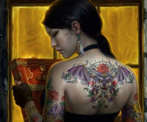 art, female, and asian image