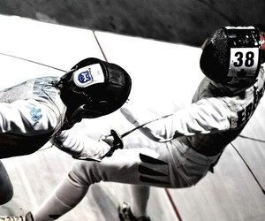 black and white, fencing, and epee image