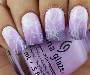 flowers, nail art, and purple image