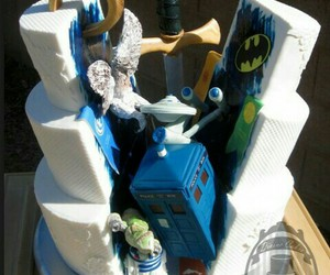 cake, doctor who, and batman image