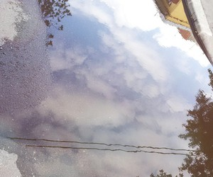 blocks, clouds, and mirror image