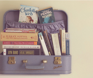 book, vintage, and suitcase image