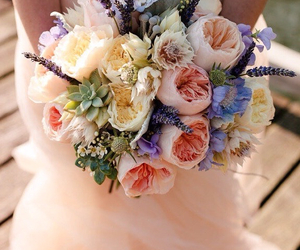 beautiful, bouquet, and pearls image