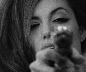 gun, Angelina Jolie, and black and white image
