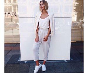 fashion, white shirt, and white jacket image