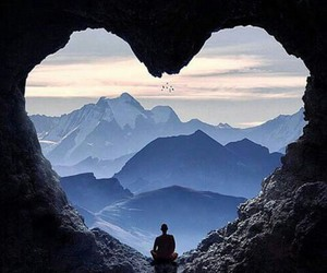 heart, mountains, and nature image