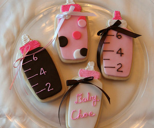 pink, baby shower, and baby shower cookies image