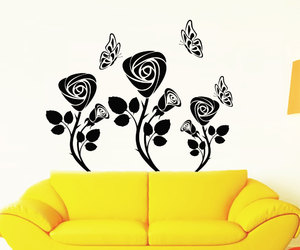 butterfly, rose, and wall decals image