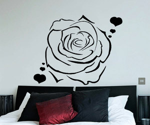 bedroom decor, flower, and hearts image