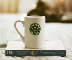 starbucks, coffee, and book image