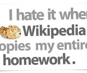 wikipedia, homework, and funny image
