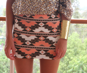 skirt, fashion, and aztec image