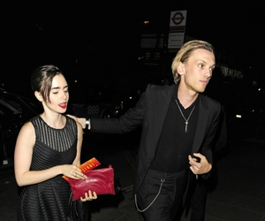 Jamie Campbell Bower, lily collins, and couple image