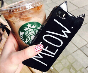 meow, starbucks, and cat image