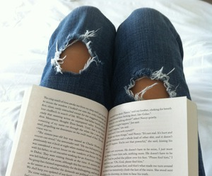 book, jeans, and read image