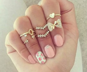 nails, rings, and pink image
