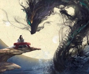 dragon, asian, and moon image