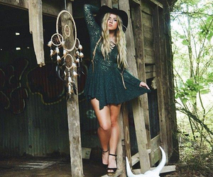 blonde, bohemian, and dress image