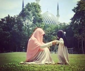 hijab, baby, and islam image