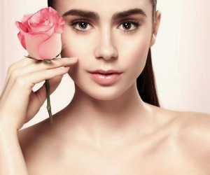 lily collins, lancome, and paris image