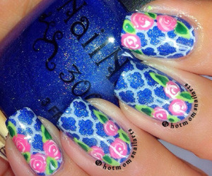 design, nail, and flowers image