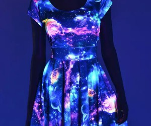 dress, galaxy, and neon image