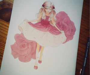 drawing, dress, and roses image