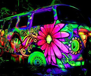 hippie, car, and colors image