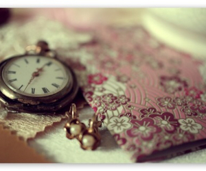 clock, vintage, and pink image
