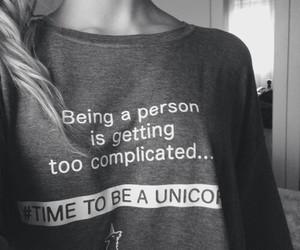 unicorn, shirt, and black and white image