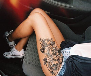 car, thigh tattoo, and converse image