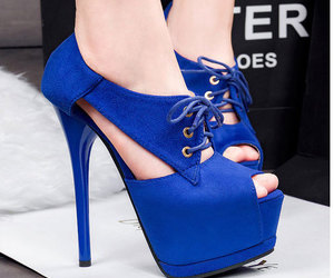 blue shoes, cute shoes, and Fashion girls image