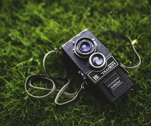 vintage, camera, and grass image