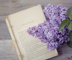 flower, lilac, and old book image