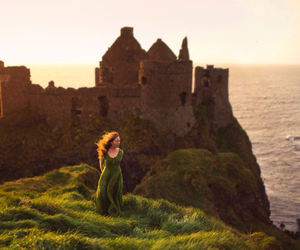 castle, cliff, and girl image