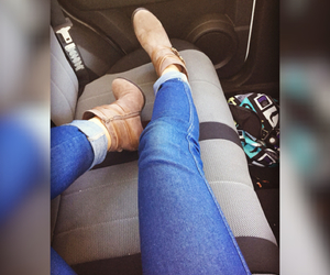 backseat, car, and jeans image