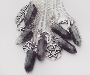 black, necklace, and crystal image
