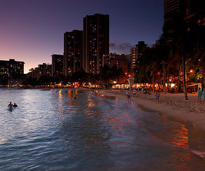 beach, city, and light image