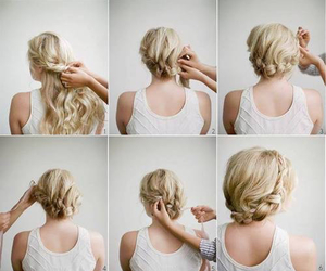 blonde, braided, and long hair image