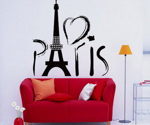 bedroom, living room decor, and love paris image