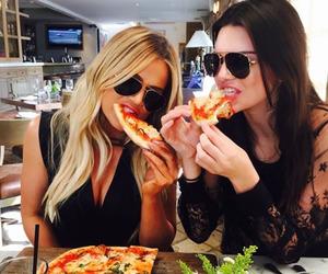 pizza, kendall jenner, and khloe kardashian image