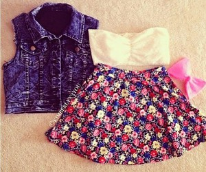 clothes, bow, and flowers image