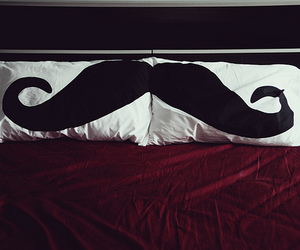 mustache, bed, and moustache image
