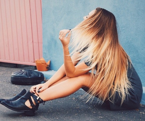 blonde, blonde hair, and boots image