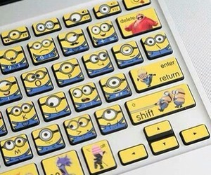 minions, keyboard, and yellow image